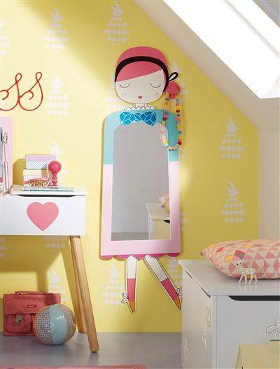 Espejo con colgadores para ni a tema mu eca rosa medio liso con motivos deco decoraci n - Espejo irrompible ninos ...