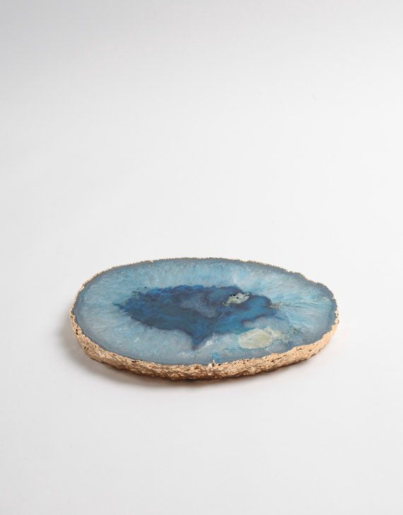 Agate Platter Blue Stone Tray pl811 Appetizer by wynnwhiskey