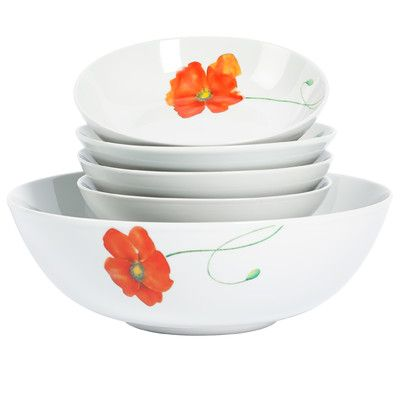 Great Tabletops Gallery Poppy 5 Piece Serving Bowl Set