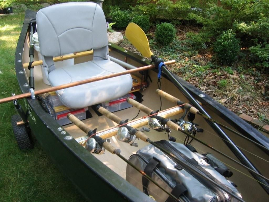 Old town 119 fishing canoe pinterest canoeing and for Fishing canoe setup