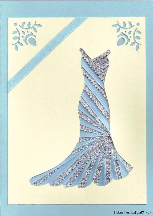 Платья из бумаги для открытки