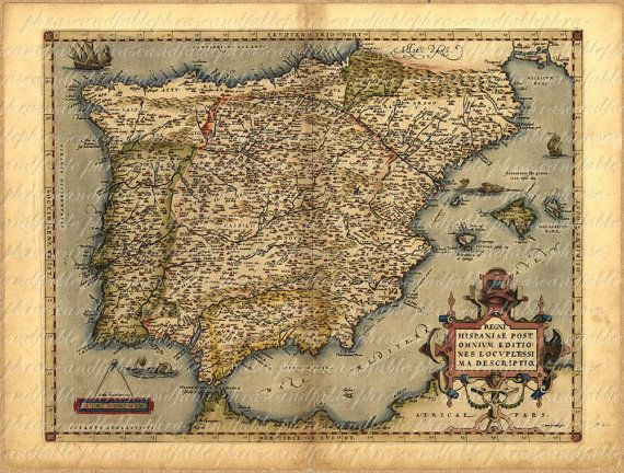 Map Of Spain From The 1500s 042 Madrid Old World Cartography - copy world map of america and europe
