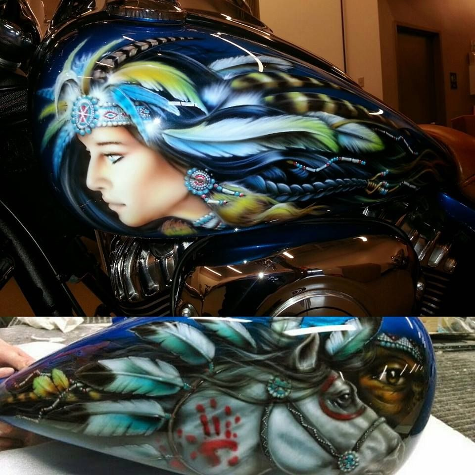 Custom paint done in Texas on an Indian Motorcycle