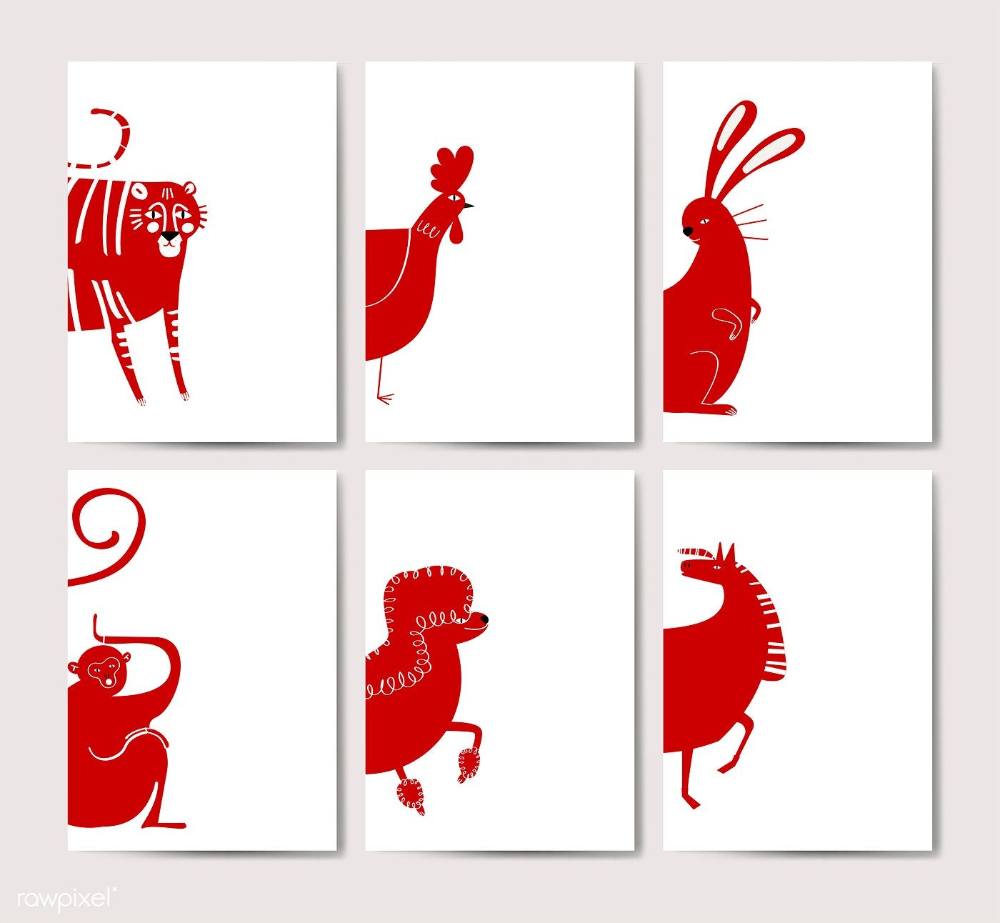 Chinese zodiac animal signs collection vector free image