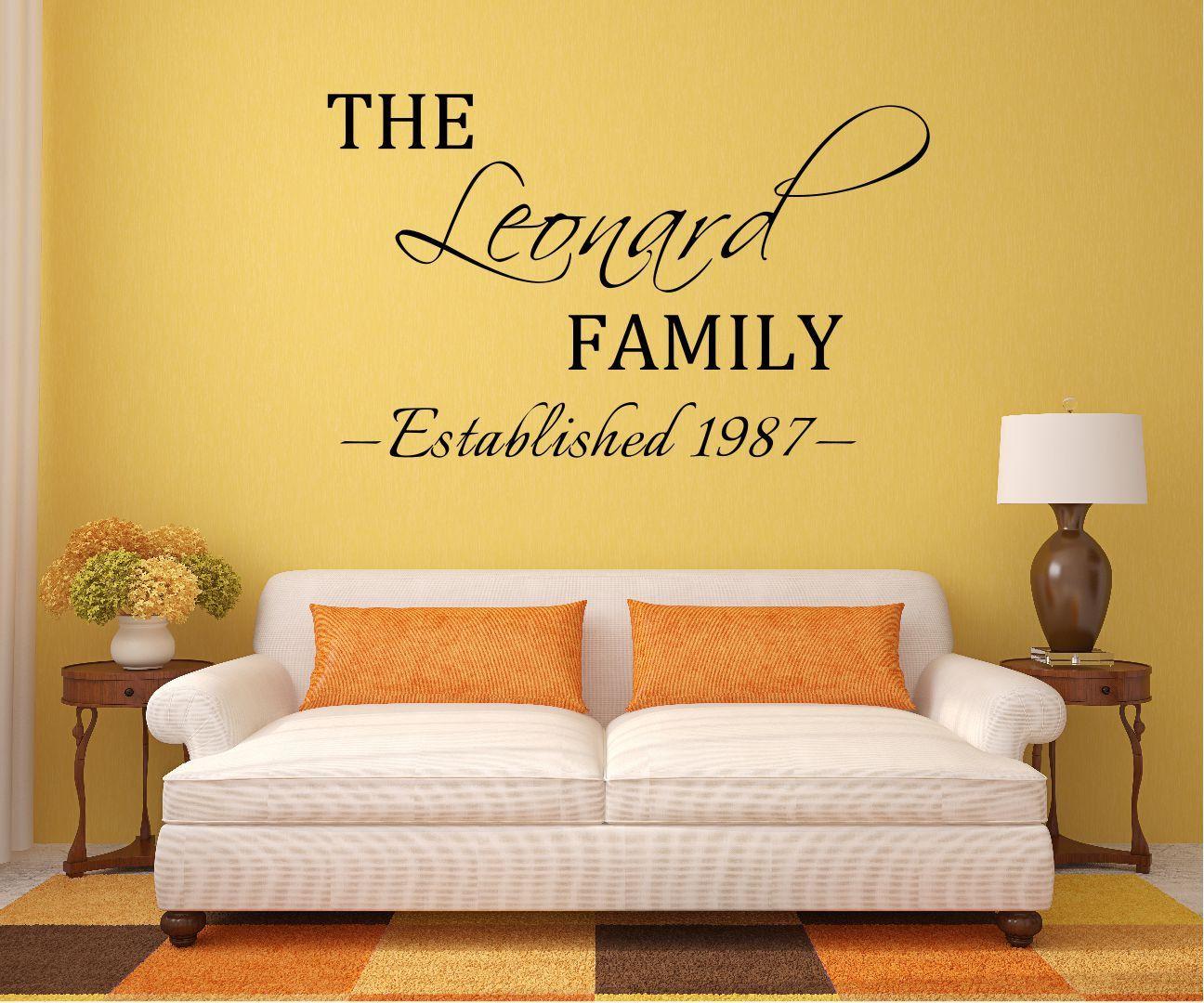 Custom Family Name Vinyl Decal - Family Vinyl Wall Art Decal, Family ...