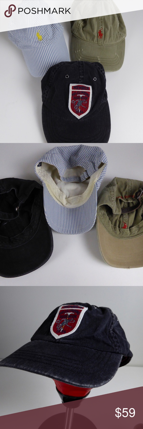 b857f384fdb Polo Ralph Lauren Hat Bundle Baseball Caps Set 3 Polo Ralph Lauren 🏇🏽3 Hat  Bundle 6 panel Hats 🏇🏽Adjustable buckles straps 🏇🏽Pony logo embroidery  ...