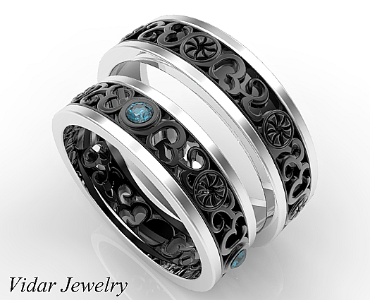 His and Hers Blue Diamond Matching Wedding BandTwo Tone