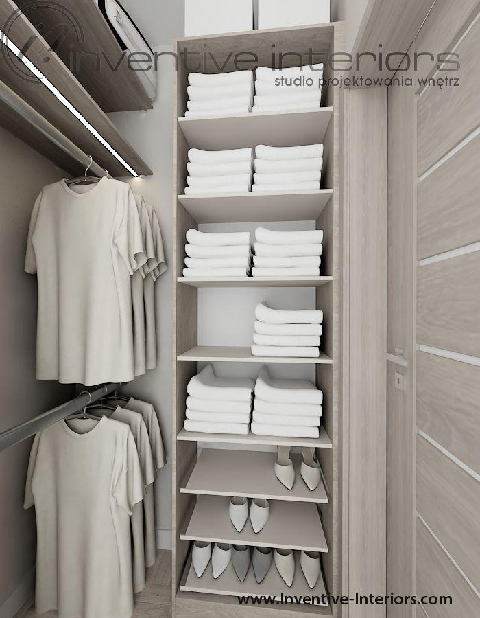 Projekt mieszkania Inventive Interiors - jasna mała garderoba  Projekt mieszkania 46m2  Pinterest