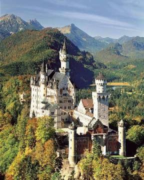 Herbstlich gefärbter wald, Schloss Neuschwanstein - Fotoprint