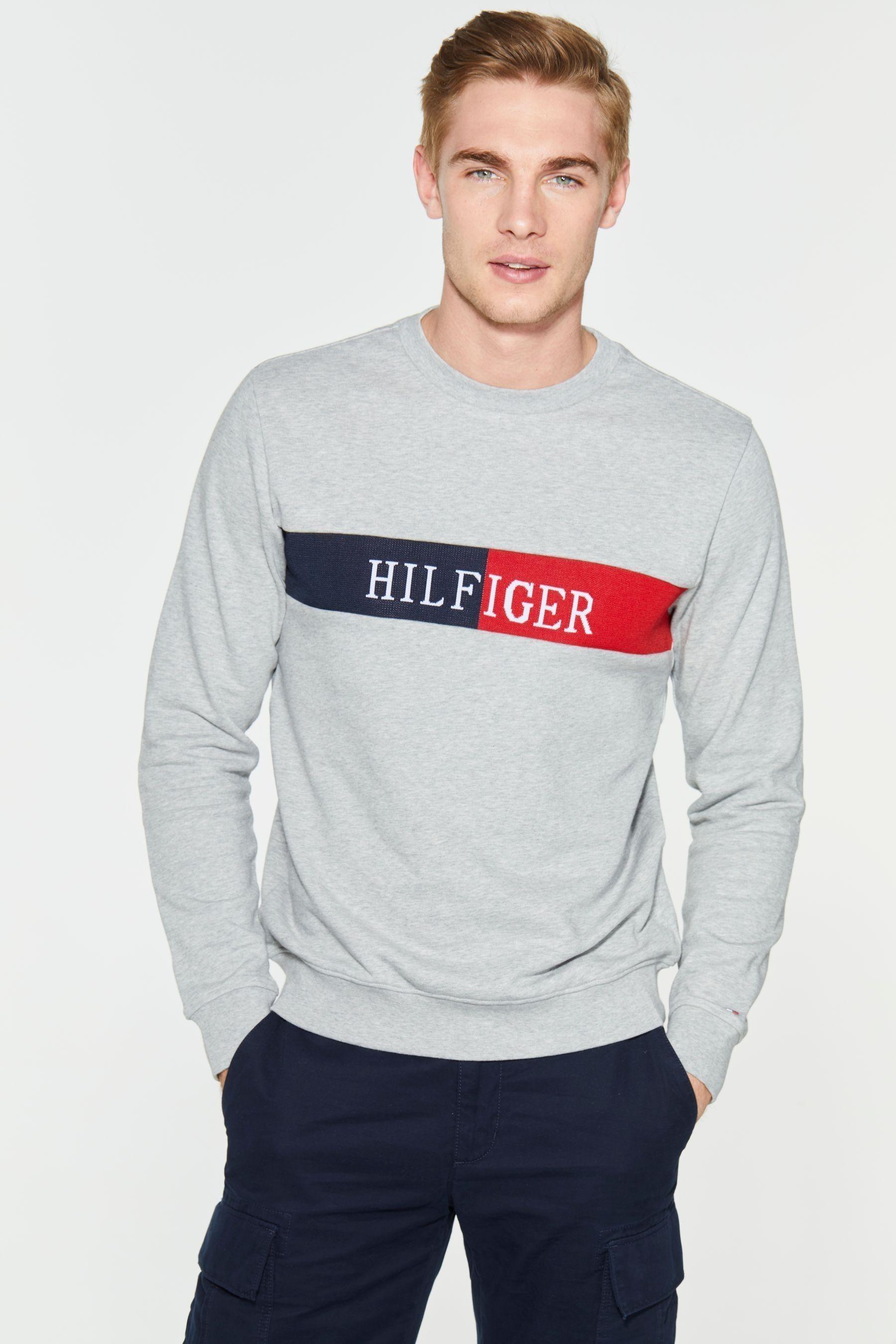 Mens Tommy Hilfiger Intarsia Sweatshirt Grey Sweatshirts Long Sleeve Tshirt Men Hilfiger [ 2700 x 1800 Pixel ]