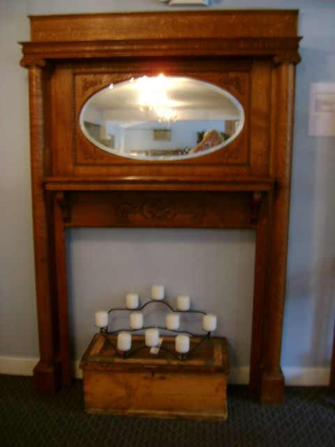 Antique Victorian Tiger Oak Fireplace Mantel With Beveled Mirror circa . - Antique Victorian Tiger Oak Fireplace Mantel With Beveled Mirror