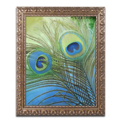 """Trademark Art 'Peacock Candy I' Framed Painting Print Size: 20"""" H x 16"""" W x 0.5"""" D"""