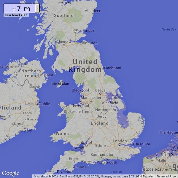 Map Of Uk If Sea Levels Rise.Flood Maps By Alex Tingle Show The Effect Of Various Rising Levels