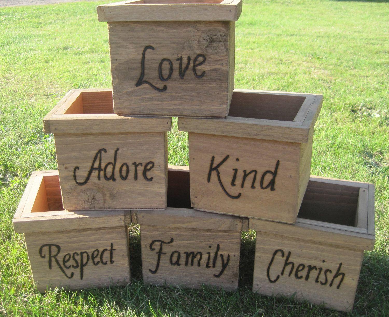 6 Rustic Wedding Wooden Cedar Barnwood Box Centerpiece