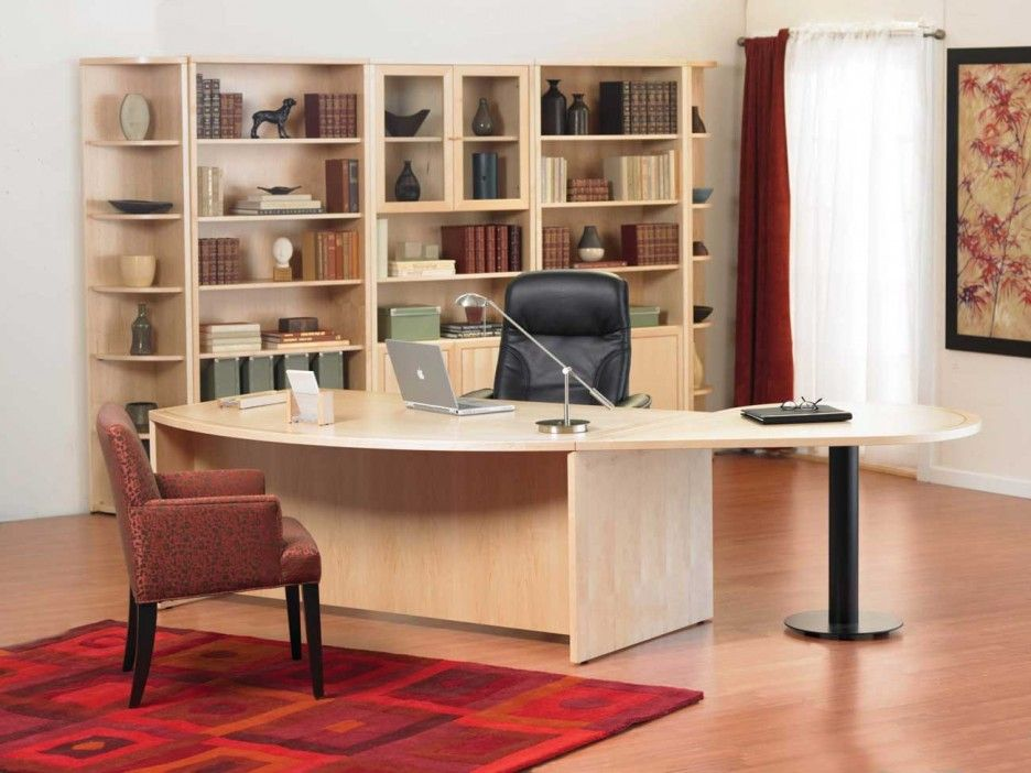 light natural wood home office furniture ideas curved edge large office desk black - Modern Home Office Guest Room