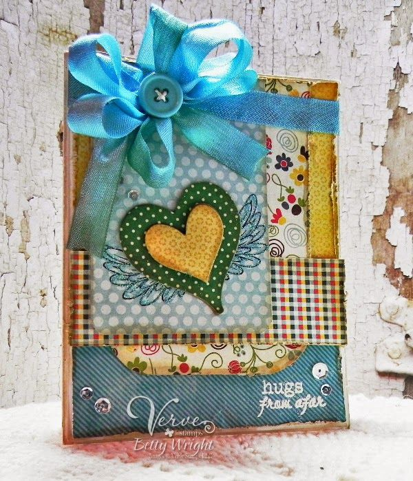 Verve's Wings of Love and Borderline stamp sets  with Verve's Cut Above Wavy Hearts and Heart Quartet dies.   Verve's Summer Sailing Ribbon Collection in Sky Blue and some Verve's Shine Bright Sequin Mix.