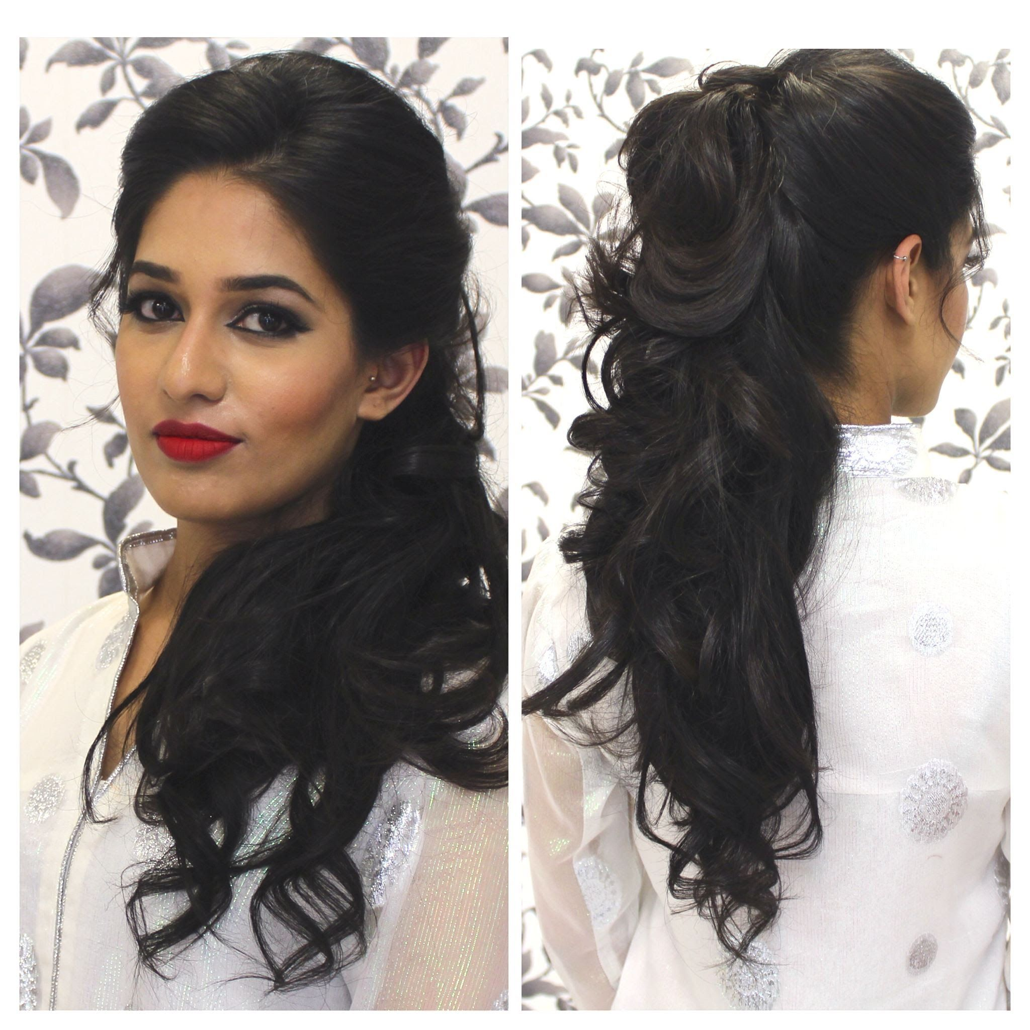 hairstyles for curly hair indian | half up do | indian party