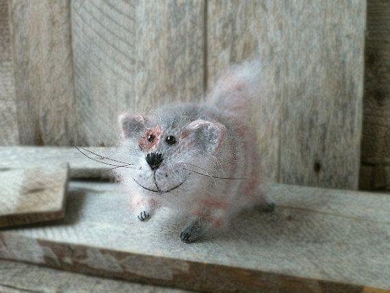 Striped Ginger Cat Art Sculpture Animal  Handmade by OlgaMareeva, $47.00
