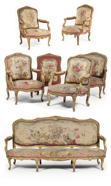 Grand mobilier de salon. Epoque Louis XV. Attribuée à Jacques Jean ...