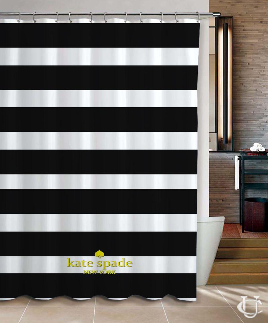 Kate Spade Logo Gold Black Stripe Shower Curtain Cheap In 2019
