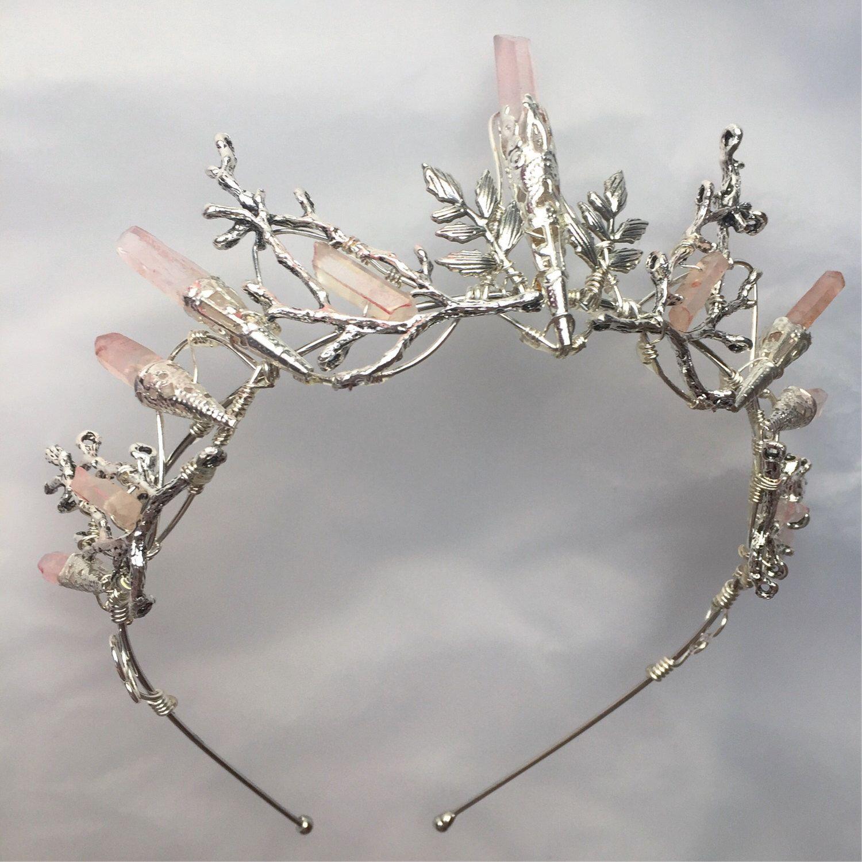The INDIE ROSE Crown - Pale Pink Quartz and Leaf Crystal Crown Tiara - Bridal, Ritual, Headdress, Festival, Halloween, Prom #crowntiara
