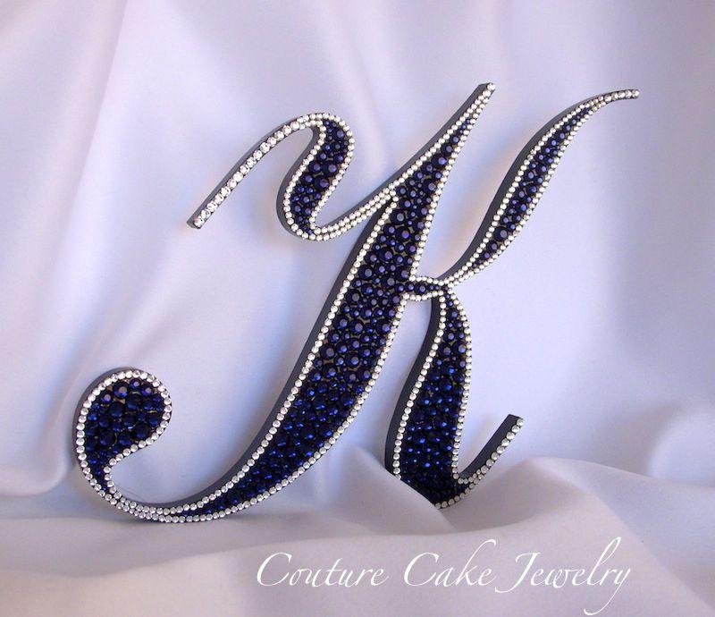 Dark Indigo bordered in Crystal Swarovski crystals makes for a stunning Monogram Cake Topper!