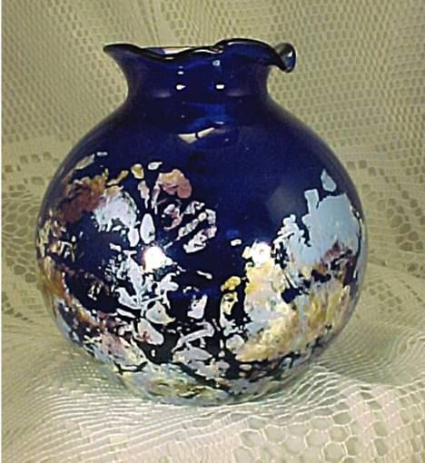 Vintage handpainted Cobalt Blue Depression Glass Vase perfect for any decor.   by AUniqueRemembrance, $15.95