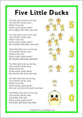 Five Little Ducks Song Sheet (SB10843)