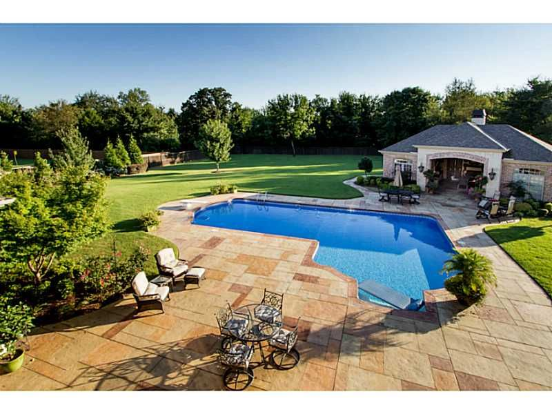 L Shaped Pool With Pool House Pool Houses Backyard Pool Dream Pools