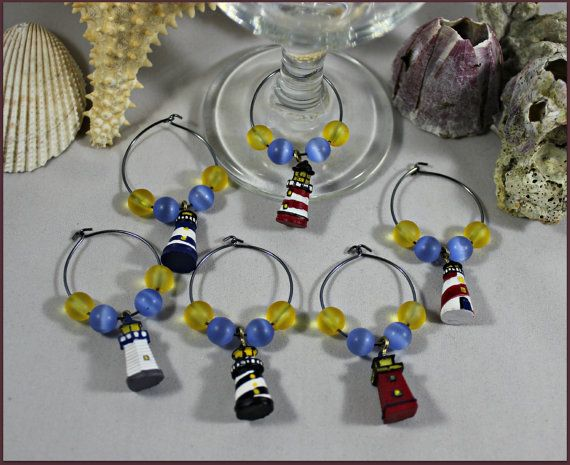 Lighthouse Wine Charms by MeDayTreasures on Etsy