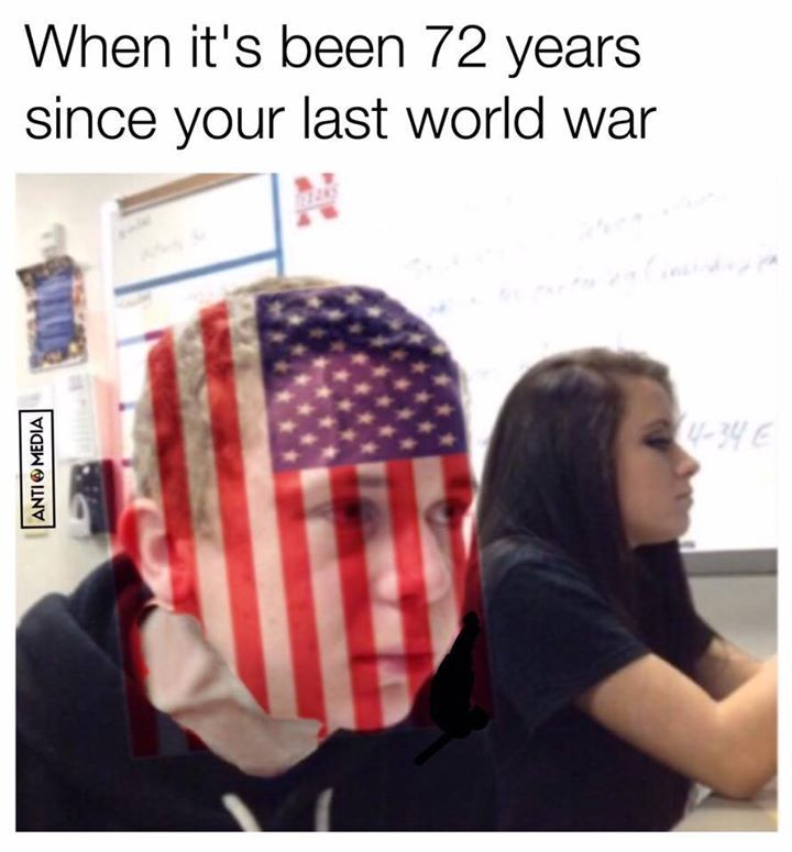 The U S Can Barely Contain Itself Funny Meme Politic Usa America Russia Trump Syria Funny Memes Funny History Memes