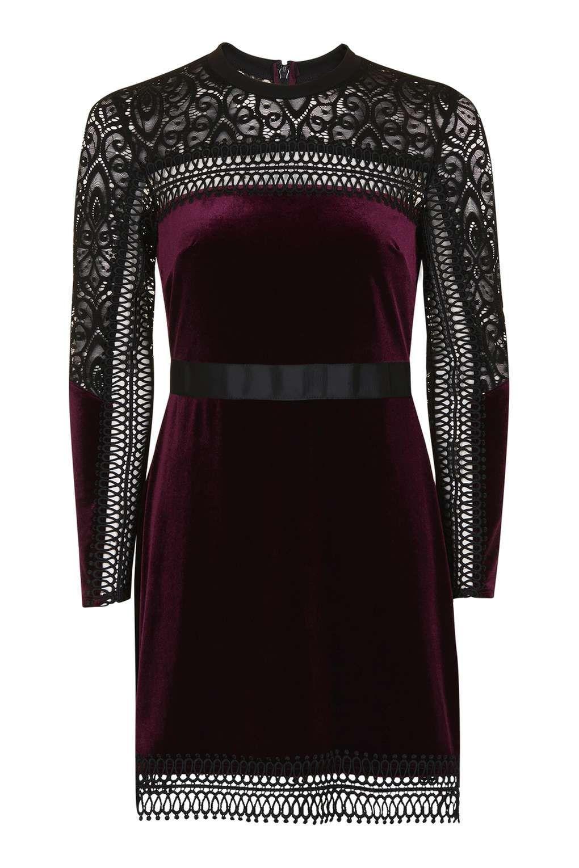 a2e1bdb08c5c1 PETITE Velvet Lace Trim A-Line Dress - Dresses - Clothing - Topshop Europe  Oversized
