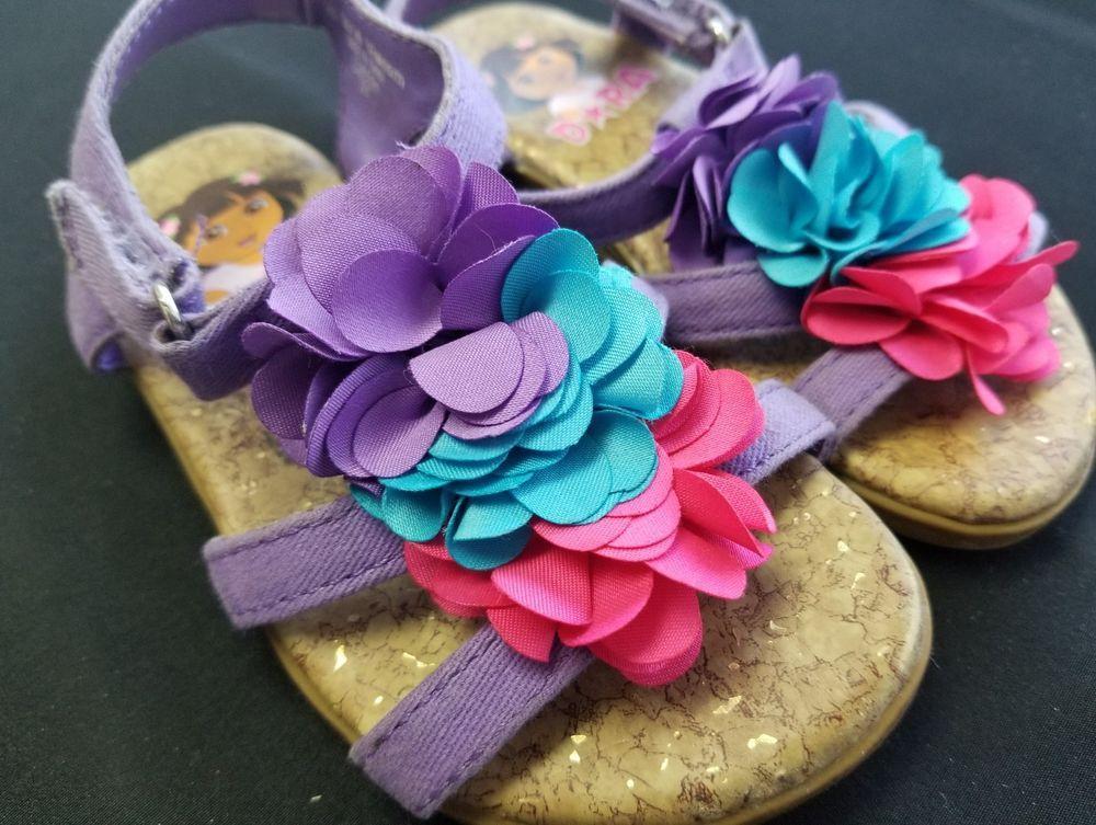 Dora Purple Teal Pink Flower Sandals Size 6.5 #dora #Sandals