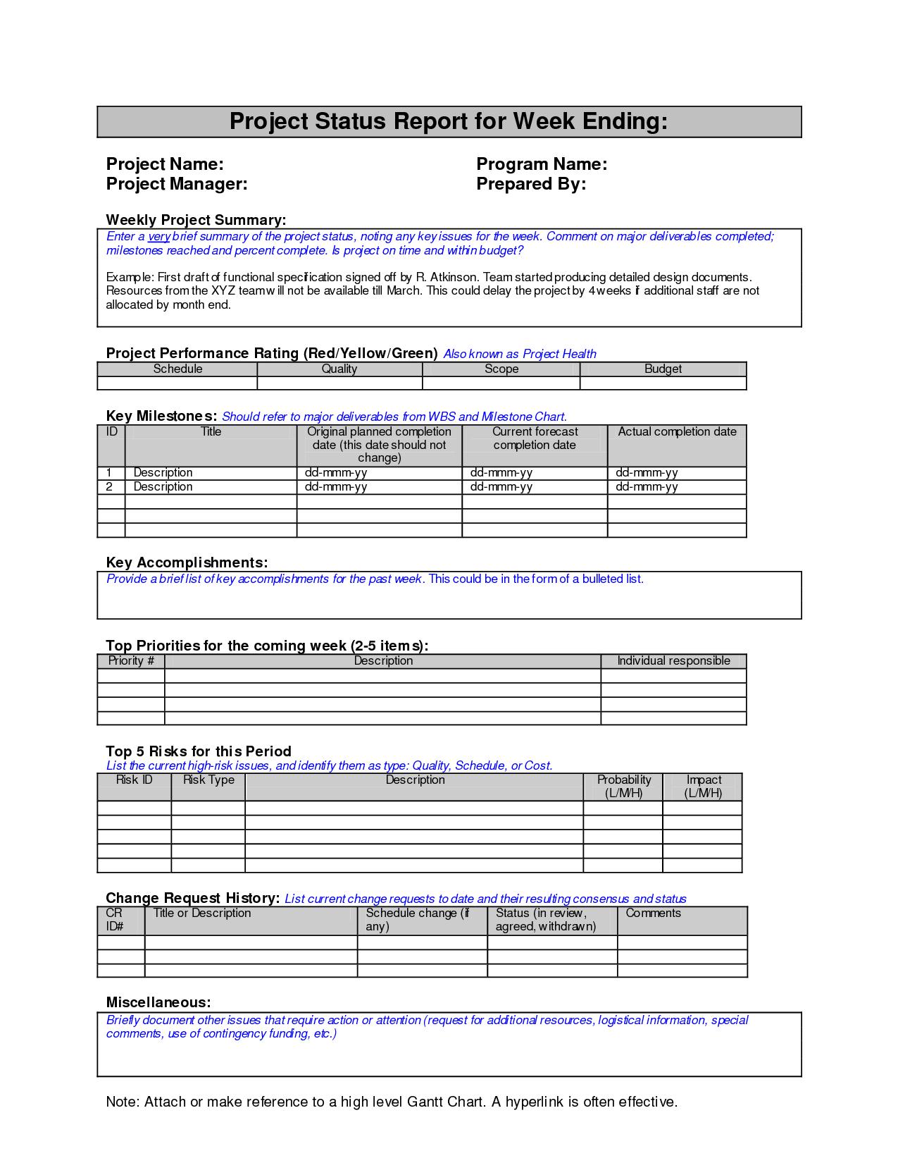 project status report sample project management pm pmp pmbok