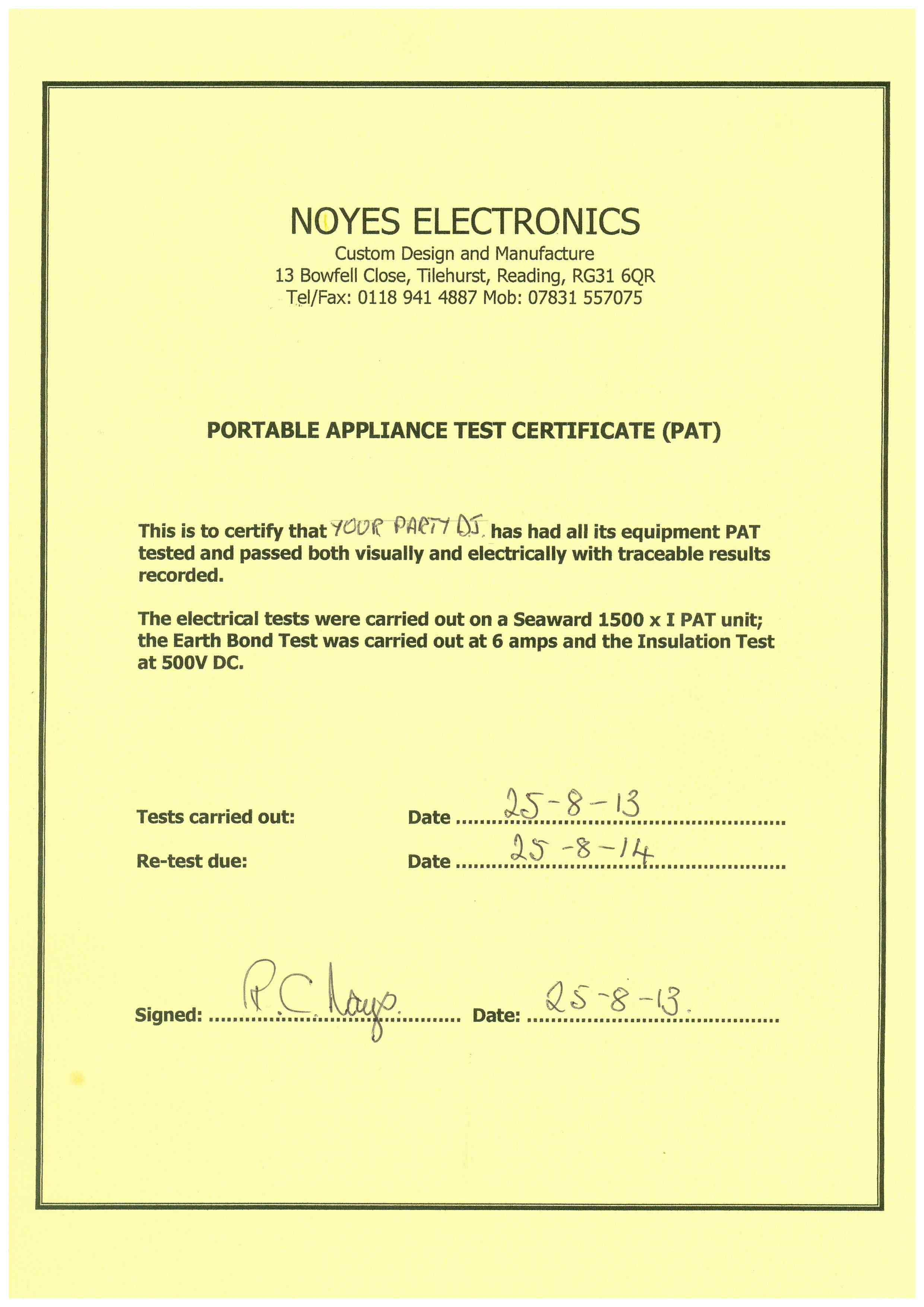 Click Here To View My Portable Appliances Test Certificate (PAT)