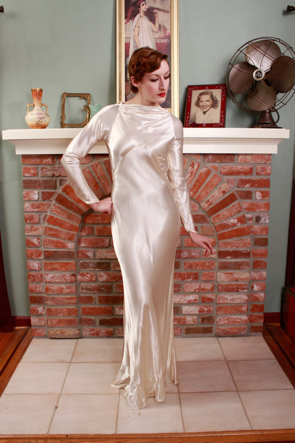 1930s wedding dress  Vintage s Wedding Gown  Ivory Satin Charmeuse Old Hollywood