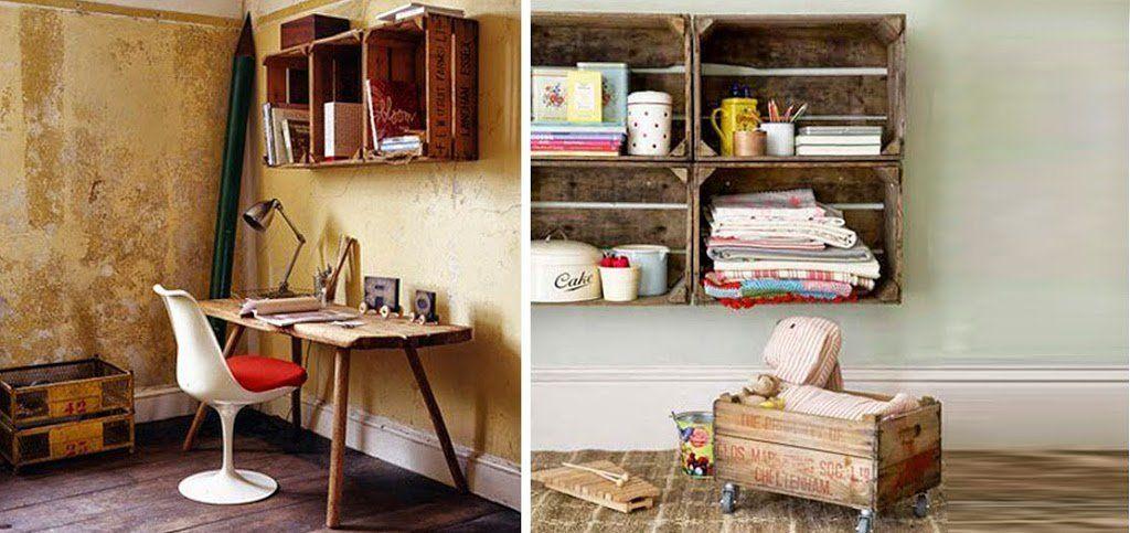 Estanter as y otros muebles reutilizando cajones para - Cajones de madera para frutas ...
