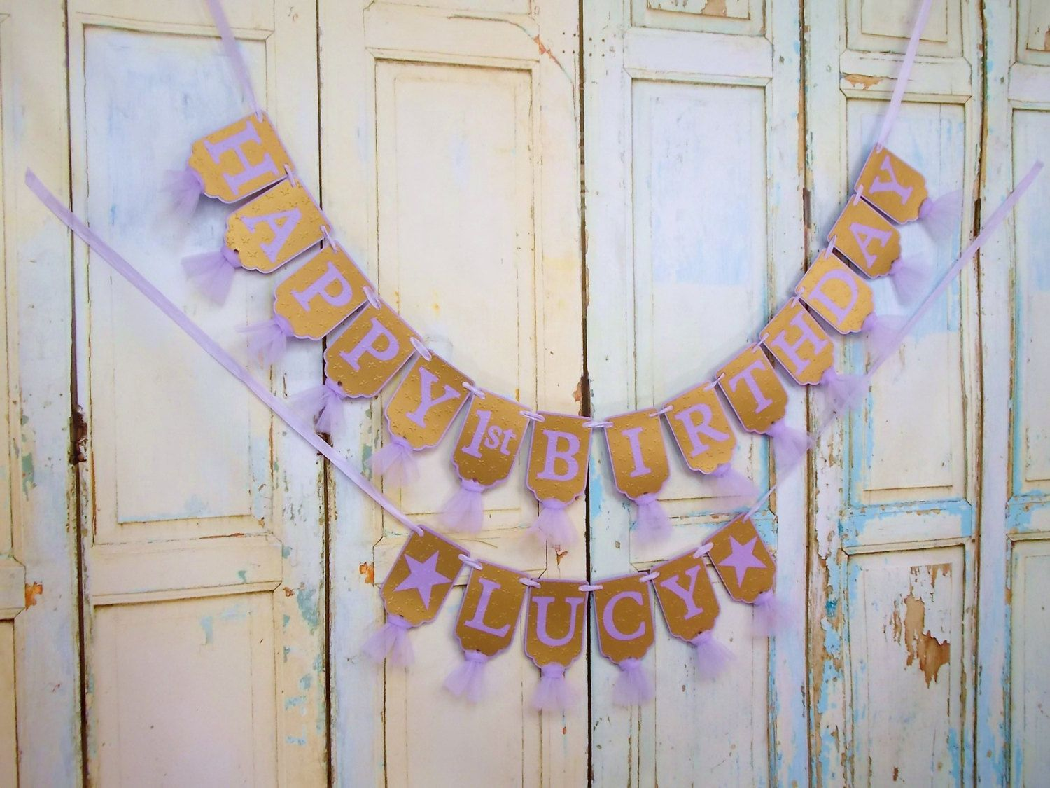 happy 1st birthday banner name with stars optional lavender and