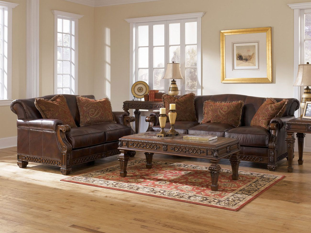 wood trim brown genuine leather sofa couch set living room