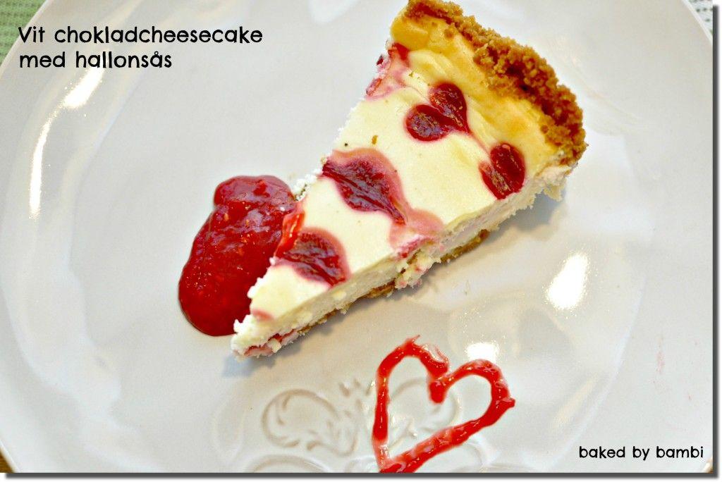 hallon och vit choklad cheesecake
