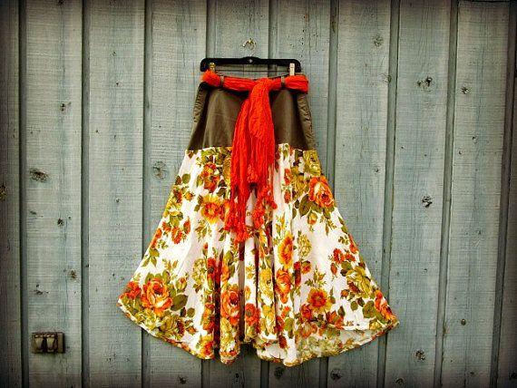 Med. Orange Blossom Olive Green Bohemian Upcycled Long Skirt// Festival// emmevielle
