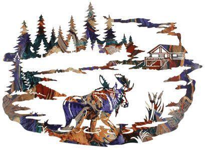 Moose Cabin Metal Wall Art