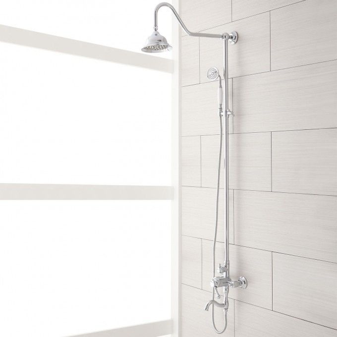 Exposed Pipe Shower System With Tub Faucet.Pin On Girls Bath