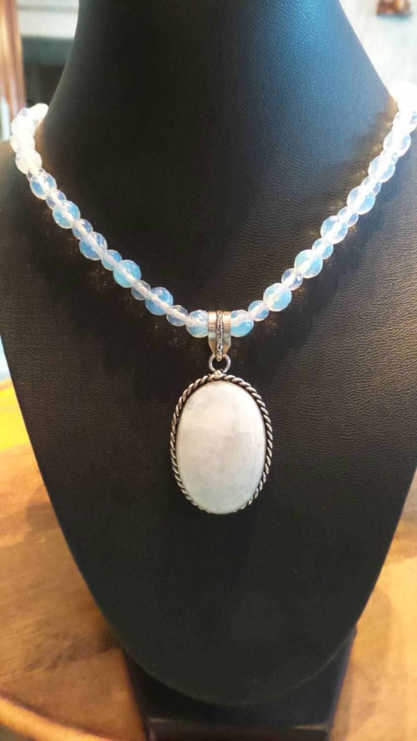 Moonstone beaded necklace with pendant. by FierStaarGems on Etsy