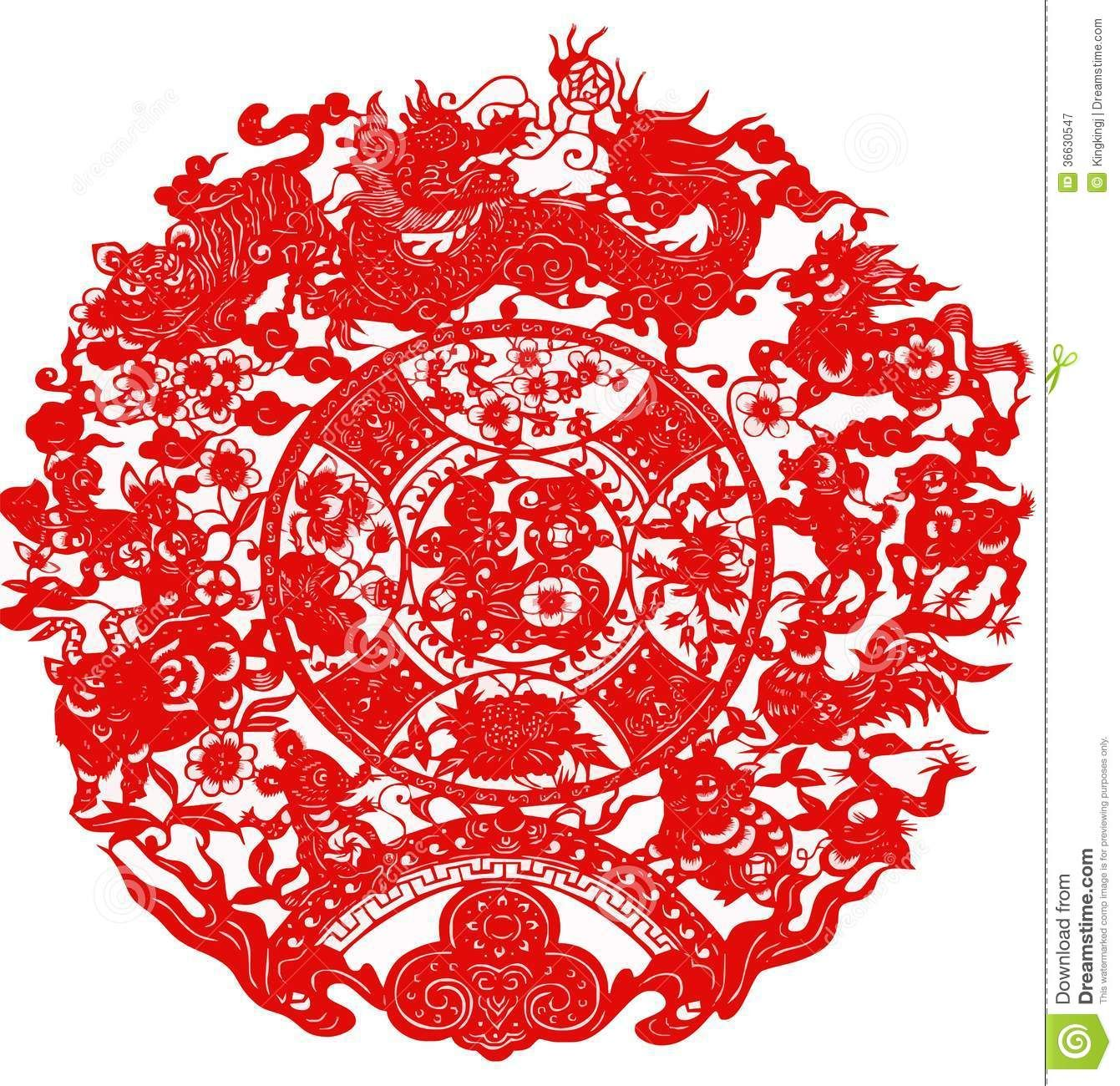 paper-cut-chinese-dragon-mouse-cow-tiger-rabbit-snake-horse-sheep ...