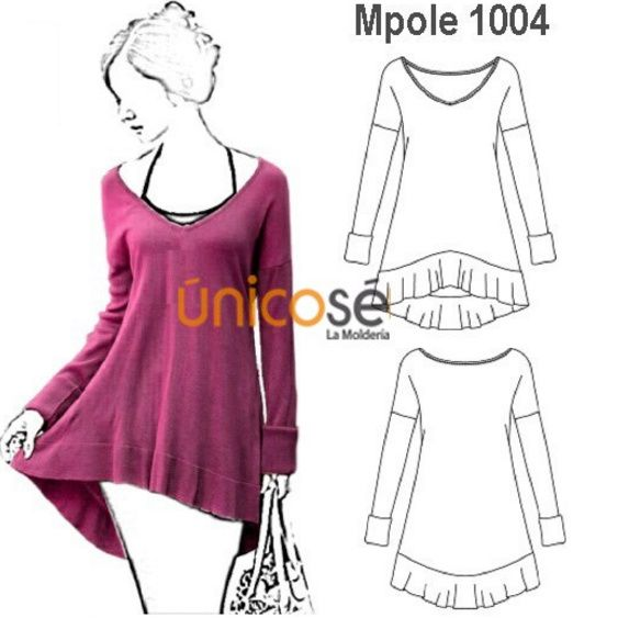 Vestido ÚNICOSÉ 1004 | moldes | Pinterest | Sewing, Sewing patterns ...