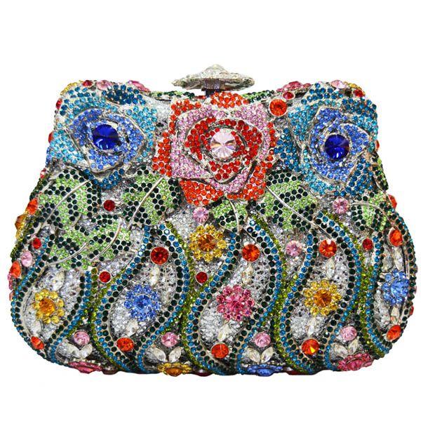 Luxury Crystal Clutch Evening Bags Rose Flower Sparkly Women Diamante Bag Colorful Wedding Banquet Handbags_8     https://www.lacekingdom.com/