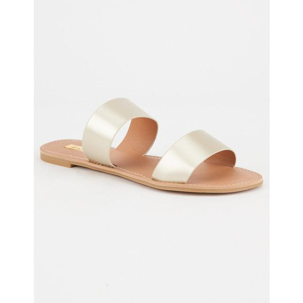 Qupid Strap Slide Womens Sandals ($15) ❤ liked on Polyvore featuring shoes, sandals, qupid shoes, vegan sandals, strap sandals, metallic shoes and strappy sandals