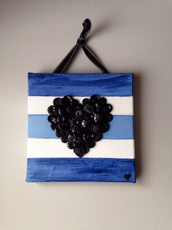 So nautical!!! Handmade button heart mounted on 8x8 canvas.  by MosaicTreasureBox,  only $22.00