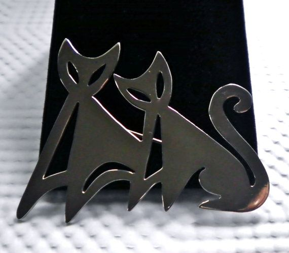 Vintage Sterling 925 Modernist Mexico Cats Silver by JoolsForYou SOLD OUT Thank You, Australia!